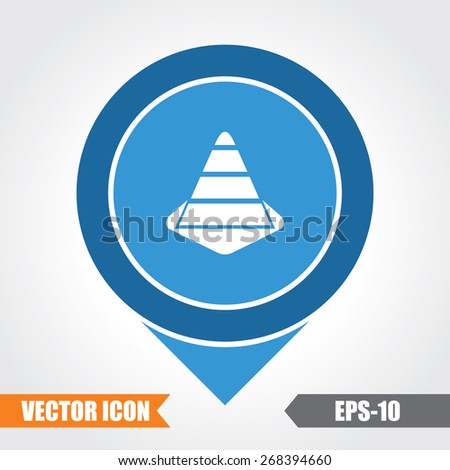 Construction cone Icon On Map Pointer. Eps.-10. - stock vector