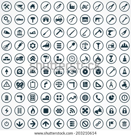 100 construction icons set - stock vector