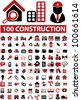 100 construction icons set, vector - stock photo