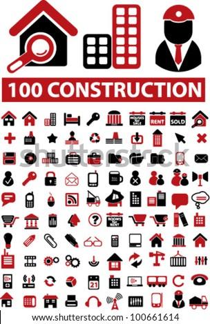 100 construction icons set, vector - stock vector
