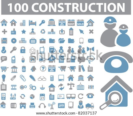 100 construction icons, signs, illustration, images, vector - stock vector