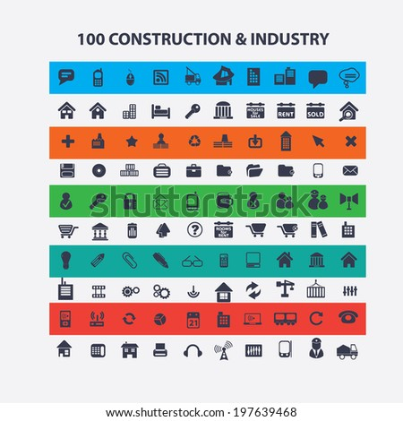 100 construction, industry, architecture, business, logistics icons set, vector - stock vector