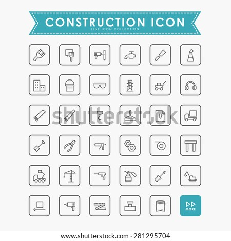 35 construction line icons - stock vector