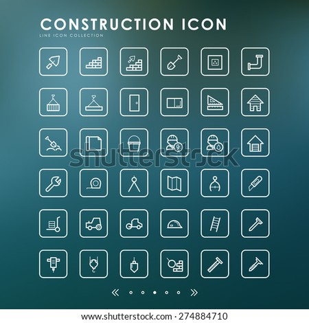 36 construction minimal line icons with blur background - stock vector