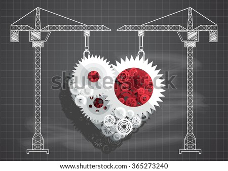 Construction of gears and cogs heart blueprint chalkboard vector illustration  - stock vector