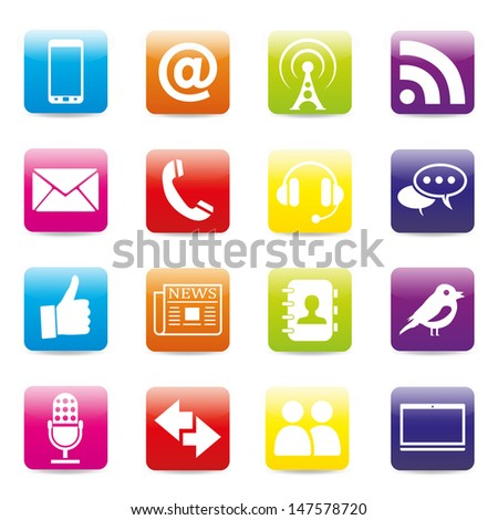 16 Contact icons - stock vector