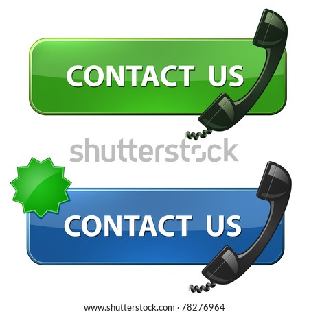"""Contact Us"" icon. Phone receiver and ""contact us ""  button. Vector illustration - stock vector"