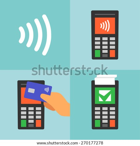 Contactless payment with card, manual, communication technology. Flat design, vector. - stock vector