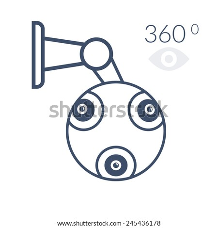 360 contour cctv icon. Isolated on white background - stock vector
