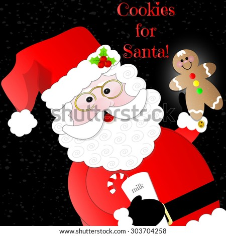 """""""Cookies for Santa""""  Santa with Milk and Gingerbread Cookie on Black Background - stock vector"""