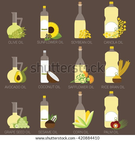 12 cooking oils in bottle. Healthy oil from canola, coconut, sesame, soybean, sunflower, safflower, palm, olive, grape seed, rice bran and avocado.  - stock vector