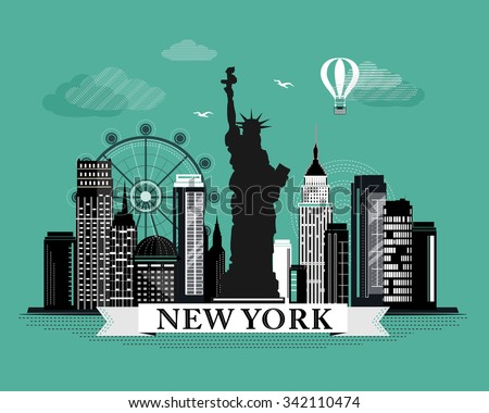 Cool graphic New York city skyline poster with retro looking detailed design elements. New York landscape with landmarks  - stock vector