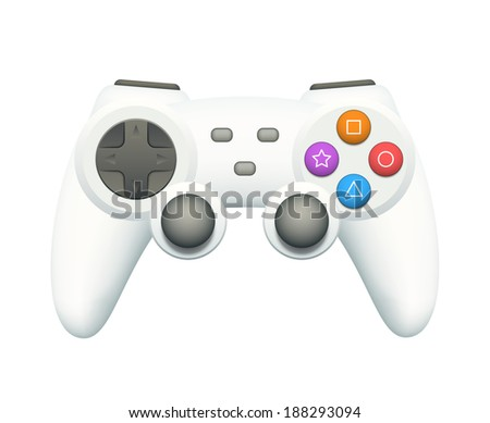 .Cool white gamepad with colorful buttons isolated on white. EPS10 vector illustration. - stock vector