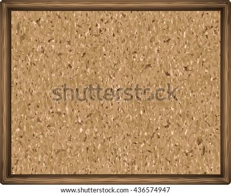cork board texture in a wooden frame. close up. vector illustration