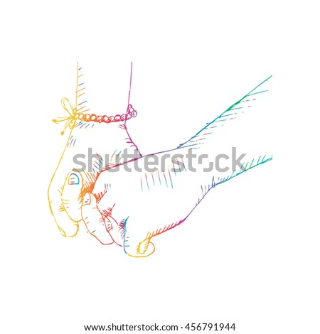 Couple holding hands . Sketchy style. - stock vector