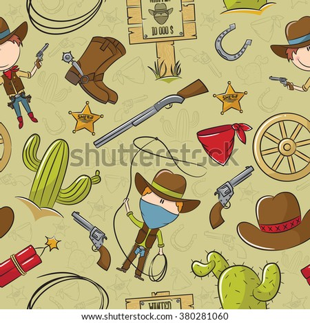 Cowboy With Wild West Objects Seamless Pattern - stock vector