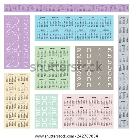 2015 Creative Calendar in multiple configurations for Print or Web - stock vector