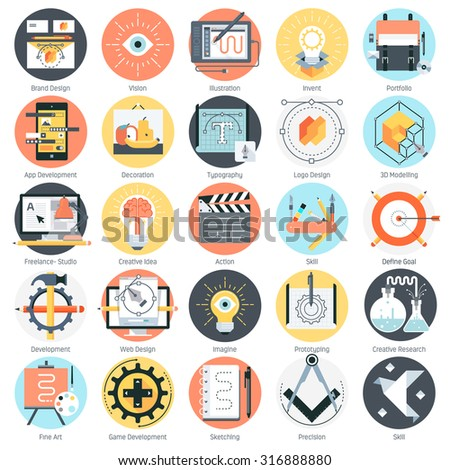 Creative design theme, flat style, colorful, vector icon set for info graphics, websites, mobile and print media. - stock vector