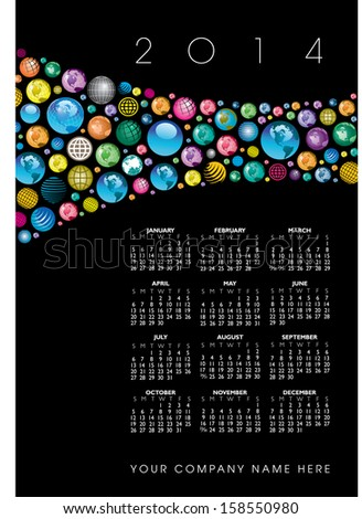 2014 Creative Globes Calendar for Print or Website