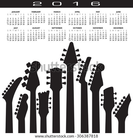2016 Creative Guitar Calendar - stock vector