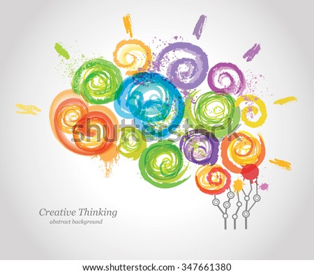Creative Human Brain in the Work. Conceptual Background for Business  and Education.   - stock vector