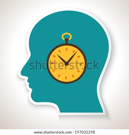 Creative ideas. Clock in head. Vector illustration for your design. - stock vector