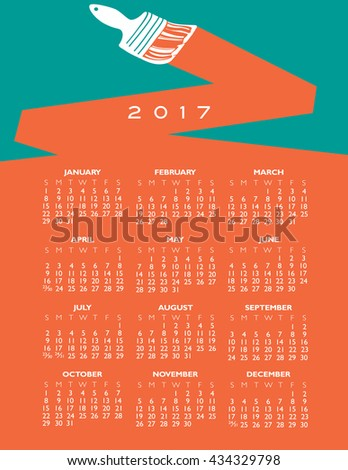 2017 creative painting calendar for print or web - stock vector
