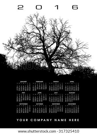 2016 Creative tree calendar - stock vector
