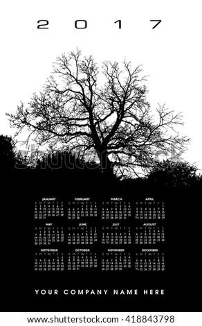 2017 Creative tree calendar for print or web  - stock vector