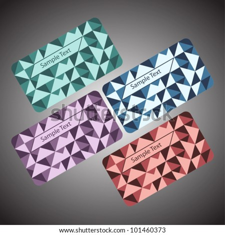 Creative vector business card set (green, blue, violet, purple).