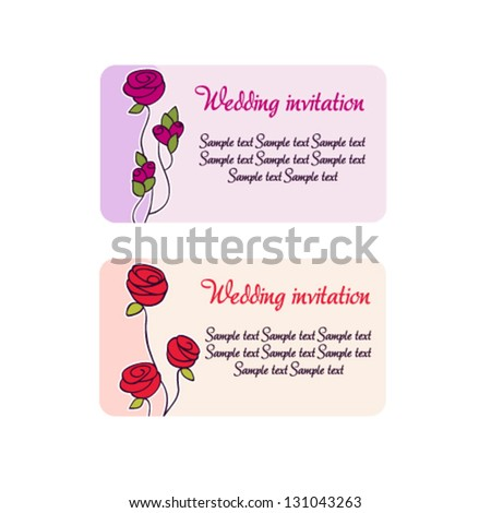 Creative vector invitation to the wedding or announcements with rose.