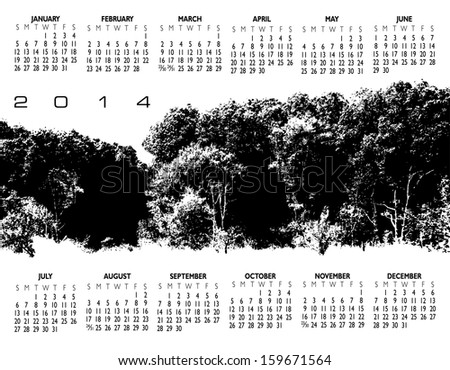 2014 Creative Woods Calendar for Print or Website - stock vector