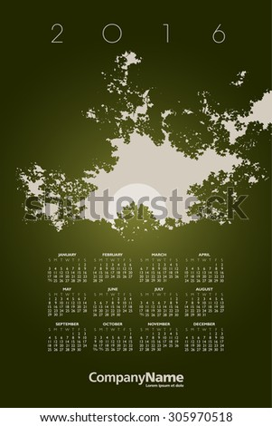 2016 Creative Woods Calendar for Print or Website - stock vector