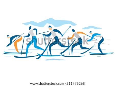 Crossed Skis Drawing Cross Country Ski Race a