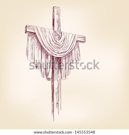 cross hand drawn vector llustration realistic sketch - stock vector