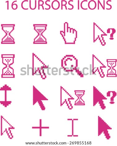 16 cursors icons set, mouse, select, search, waiting, arrow, add icons, vector - stock vector