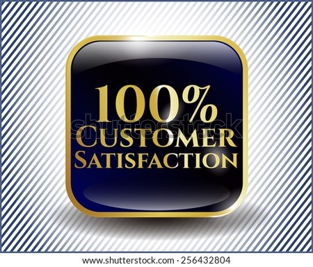 100% Customer satisfaction golden label. Hi quality design. Luxury shiny icon. - stock vector