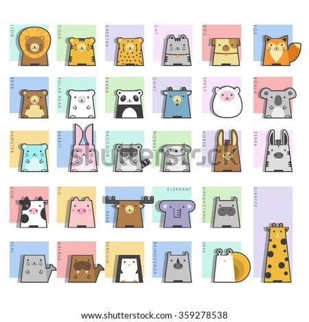 Cute Animals  Icon Set, vector, illustration - stock vector
