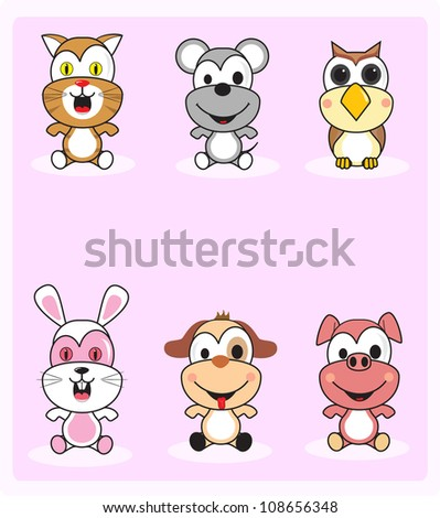 6 cute baby animals are isolated with a pink background - stock vector