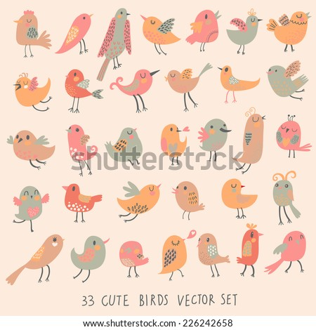 33 cute birds in pastel pink colors. Cartoon collection with funny little bird family.  - stock vector