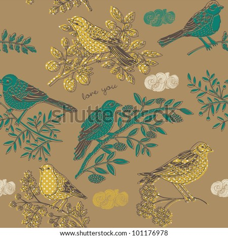 cute birds on the branches - stock vector