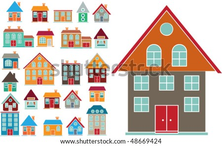 20 cute buildings. vector - stock vector