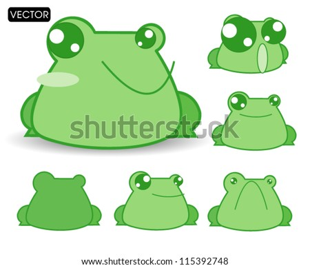 cute cartoon frogs Vector illustration with simple - stock vector