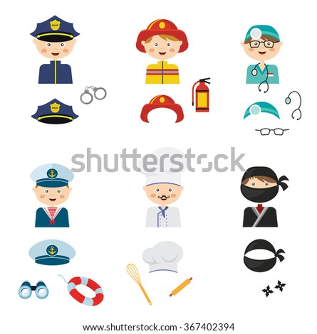 cute cartoon set of costumed kids with different  professions