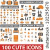 100 cute clothes, birthday, presentation, vacation, travel icons set, vector - stock vector