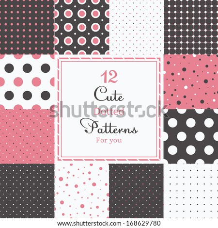 12 Cute different dotted vector seamless patterns (tiling). Polka dots set. Black, white and pink color. Endless texture can be used for printing onto fabric and paper or scrap booking. - stock vector