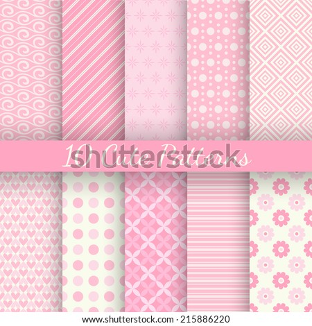 10 Cute different vector seamless patterns. Pink and white colors. Endless texture can be used for sweet romantic wallpaper, pattern fill, web page background, surface textures. - stock vector