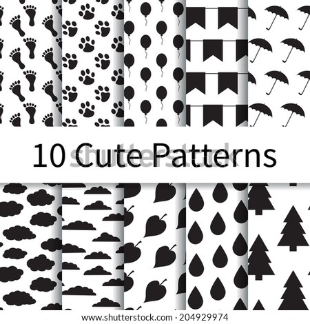 10 Cute different vector seamless patterns (tiling). Endless texture can be used for wallpaper, pattern fills, web page background, textures. Set of monochrome geometric ornaments. - stock vector