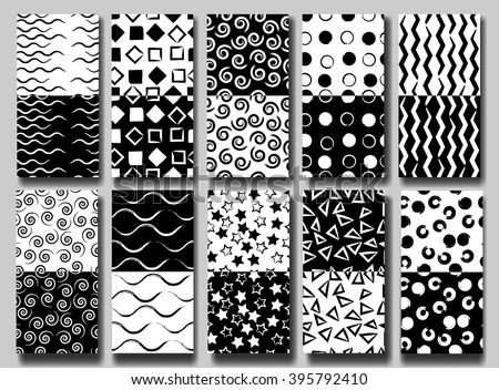 10 Cute different vector seamless patterns . Wavy lines, squares, swirl, circles, triangles and stars.  Endless texture can be used for printing onto fabric or paper. Black and White. - stock vector