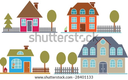 Super 4 Cute Family Houses Vector Set Stock Vector 28401133 Shutterstock Largest Home Design Picture Inspirations Pitcheantrous
